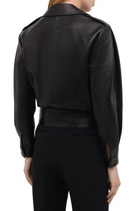 Женская кожаная куртка SAINT LAURENT черного цвета, арт. 636922/YCDF2 | Фото 4