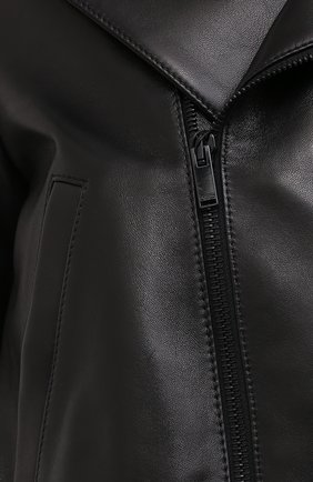 Женская кожаная куртка SAINT LAURENT черного цвета, арт. 636922/YCDF2 | Фото 5