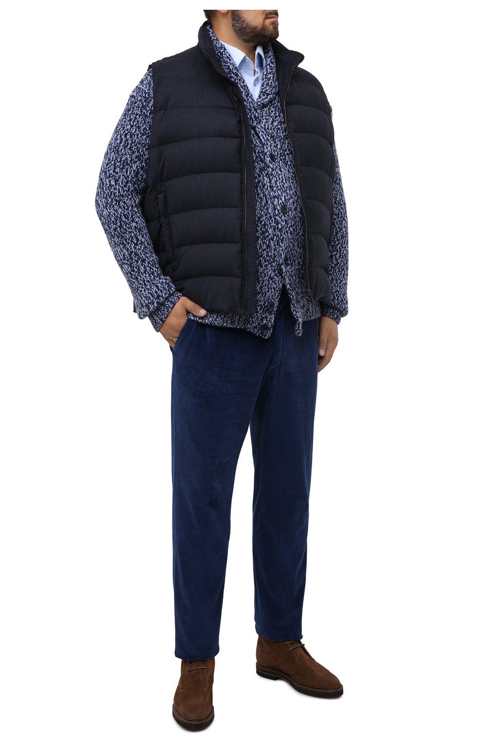 Мужской пуховый жилет oliver-l MOORER синего цвета, арт. 0LIVER-L/A20M160LANA/60-68   Фото 2 (Кросс-КТ: Куртка, Пуховик; Big sizes: Big Sizes; Материал внешний: Шерсть; Материал подклада: Синтетический материал; Мужское Кросс-КТ: Верхняя одежда; Длина (верхняя одежда): Короткие; Стили: Кэжуэл)
