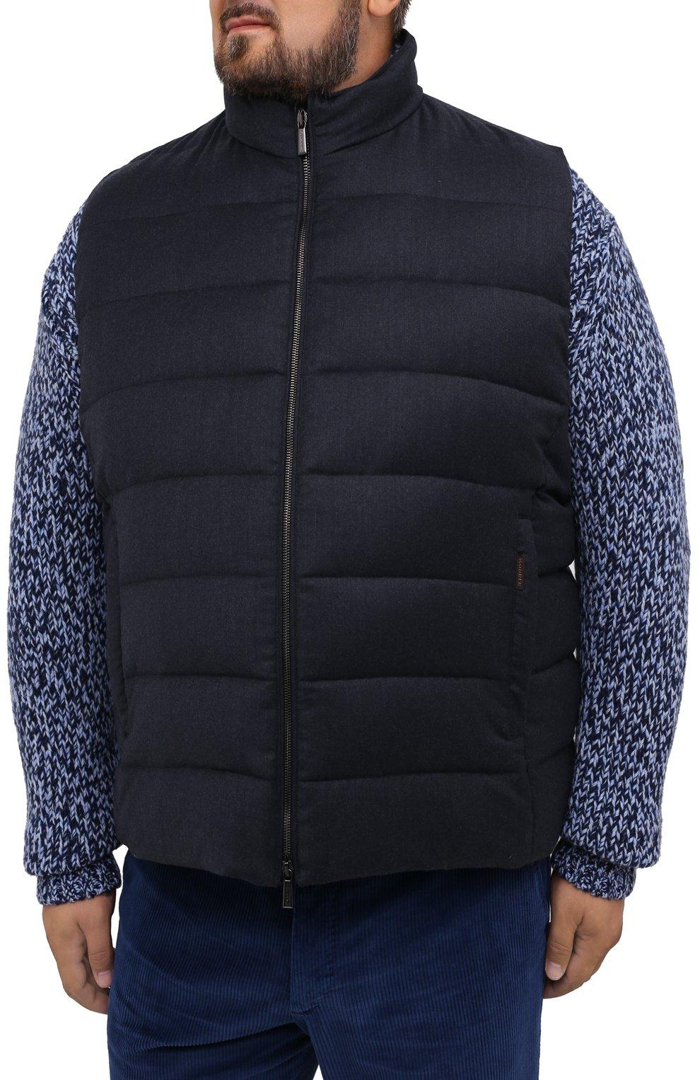 Мужской пуховый жилет oliver-l MOORER синего цвета, арт. 0LIVER-L/A20M160LANA/60-68   Фото 3 (Кросс-КТ: Куртка, Пуховик; Big sizes: Big Sizes; Материал внешний: Шерсть; Материал подклада: Синтетический материал; Мужское Кросс-КТ: Верхняя одежда; Длина (верхняя одежда): Короткие; Стили: Кэжуэл)