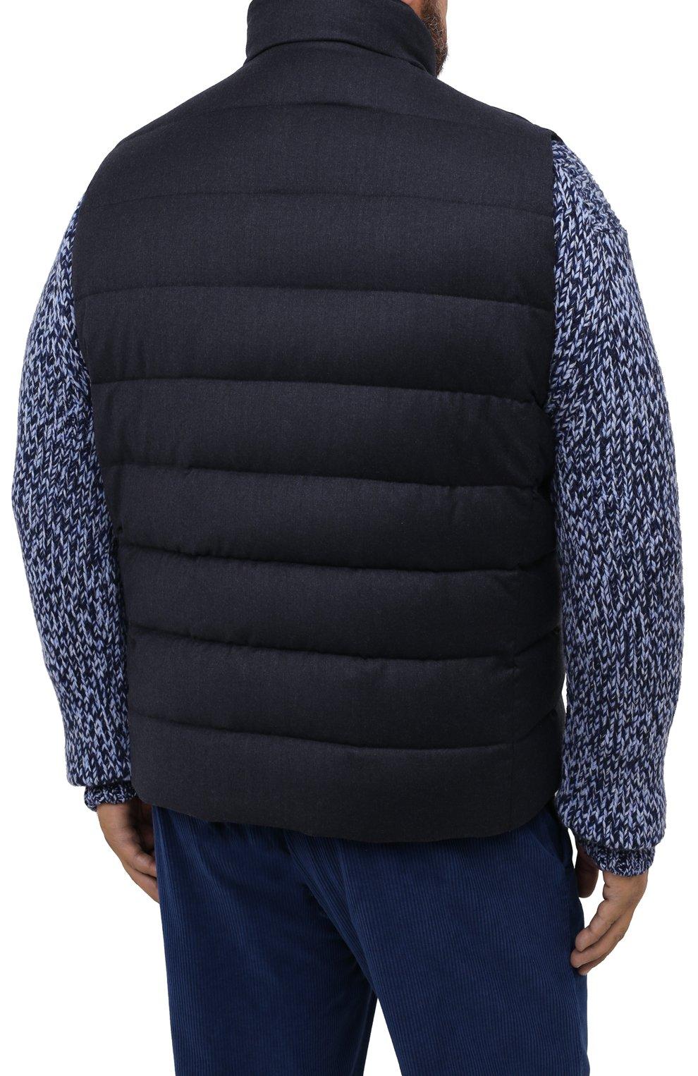 Мужской пуховый жилет oliver-l MOORER синего цвета, арт. 0LIVER-L/A20M160LANA/60-68   Фото 4 (Кросс-КТ: Куртка, Пуховик; Big sizes: Big Sizes; Материал внешний: Шерсть; Материал подклада: Синтетический материал; Мужское Кросс-КТ: Верхняя одежда; Длина (верхняя одежда): Короткие; Стили: Кэжуэл)