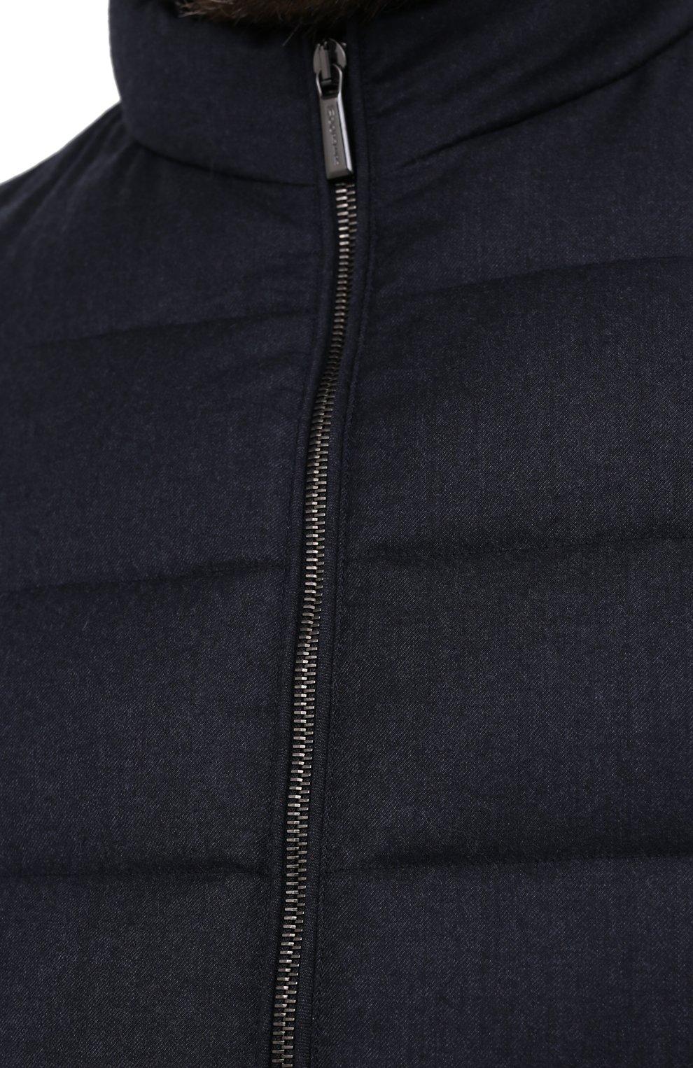 Мужской пуховый жилет oliver-l MOORER синего цвета, арт. 0LIVER-L/A20M160LANA/60-68   Фото 5 (Кросс-КТ: Куртка, Пуховик; Big sizes: Big Sizes; Материал внешний: Шерсть; Материал подклада: Синтетический материал; Мужское Кросс-КТ: Верхняя одежда; Длина (верхняя одежда): Короткие; Стили: Кэжуэл)
