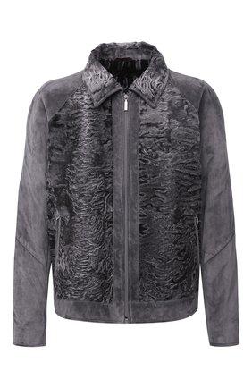 Мужская куртка из овчины и замши ZILLI серого цвета, арт. MAU-INEDB-00024/1001 | Фото 1 (Материал подклада: Шелк; Материал внешний: Кожа, Натуральный мех; Мужское Кросс-КТ: Куртка-верхняя одежда, Кожа и замша, Верхняя одежда; Стили: Кэжуэл; Кросс-КТ: Куртка; Длина (верхняя одежда): Короткие)