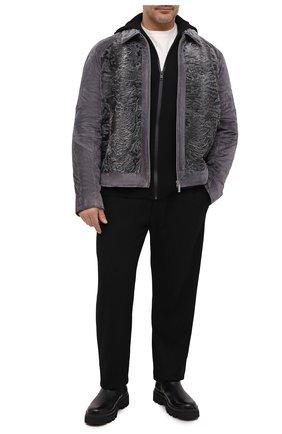 Мужская куртка из овчины и замши ZILLI серого цвета, арт. MAU-INEDB-00024/1001 | Фото 2 (Материал подклада: Шелк; Материал внешний: Кожа, Натуральный мех; Мужское Кросс-КТ: Куртка-верхняя одежда, Кожа и замша, Верхняя одежда; Стили: Кэжуэл; Кросс-КТ: Куртка; Длина (верхняя одежда): Короткие)