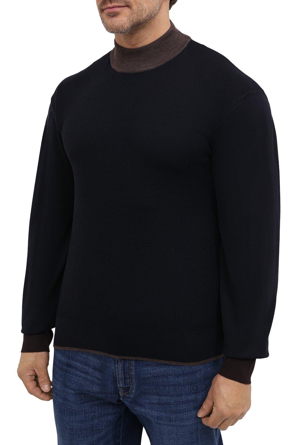 Мужской шерстяная водолазка CORTIGIANI темно-синего цвета, арт. 919107/0200/60-70 | Фото 3 (Big sizes: Big Sizes; Материал внешний: Шерсть; Рукава: Длинные; Принт: Без принта; Длина (для топов): Удлиненные; Мужское Кросс-КТ: Водолазка-одежда; Стили: Кэжуэл)