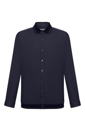 Мужская хлопковая рубашка ZILLI темно-синего цвета, арт. MFU-01801-64036/0001/45-49   Фото 1
