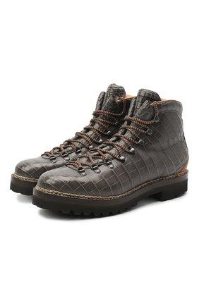Мужские ботинки из кожи крокодила RALPH LAUREN темно-серого цвета, арт. 815825433/CNIL | Фото 1
