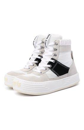 Мужские комбинированные ботинки PALM ANGELS черно-белого цвета, арт. PMIA052F20FAB0010110   Фото 1