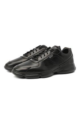 Мужские кожаные кроссовки BOSS черного цвета, арт. 50440669   Фото 1