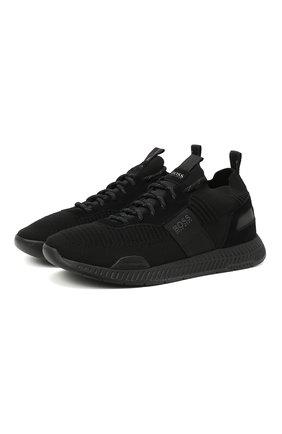 Мужские текстильные кроссовки BOSS черного цвета, арт. 50414734 | Фото 1