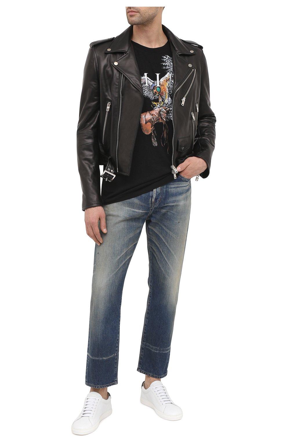 Мужская хлопковая футболка AMIRI черного цвета, арт. W0M03556CJ   Фото 2