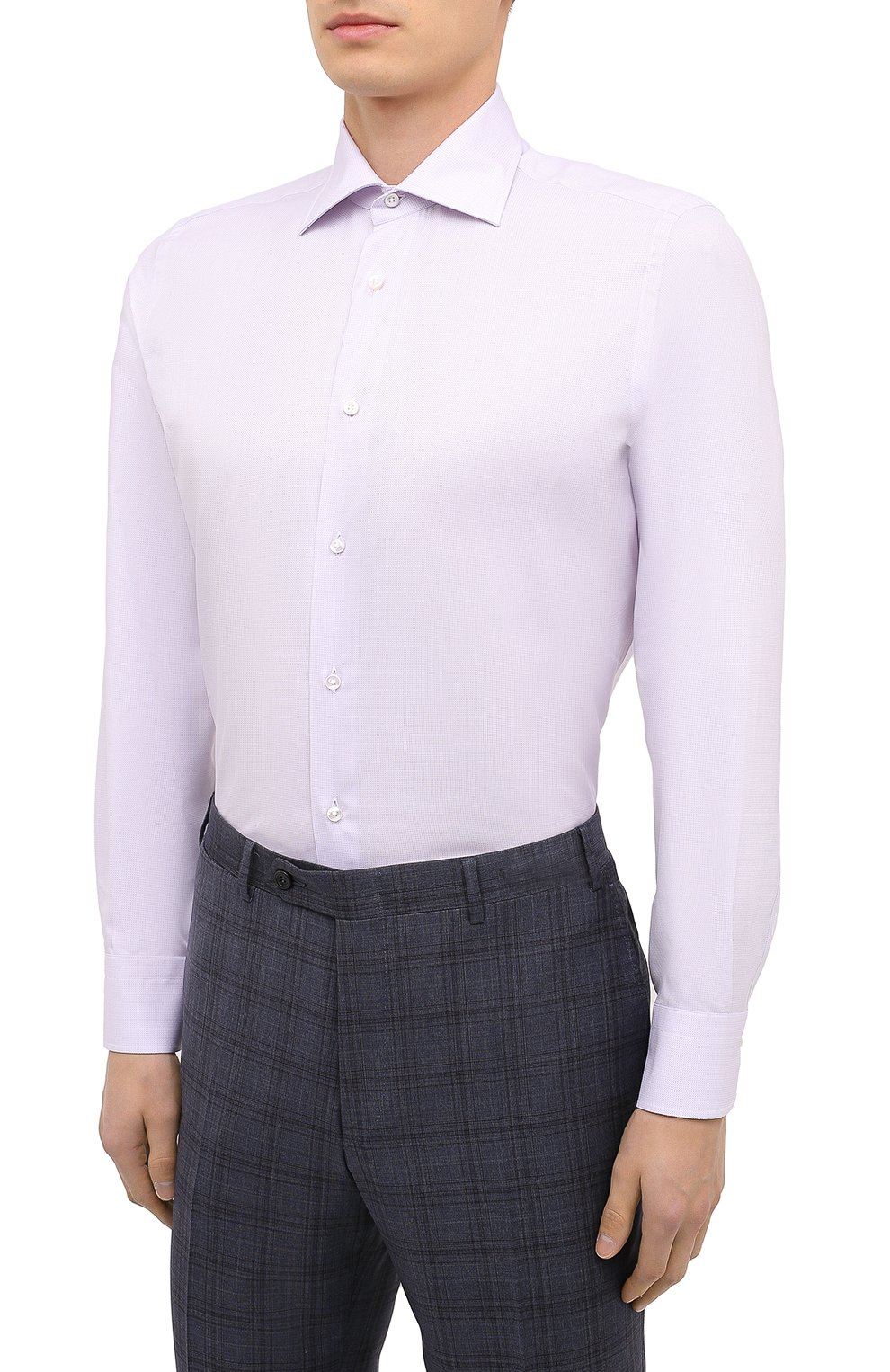 Мужская сорочка из хлопка и шелка CANALI светло-розового цвета, арт. XX18/GX02036 | Фото 3