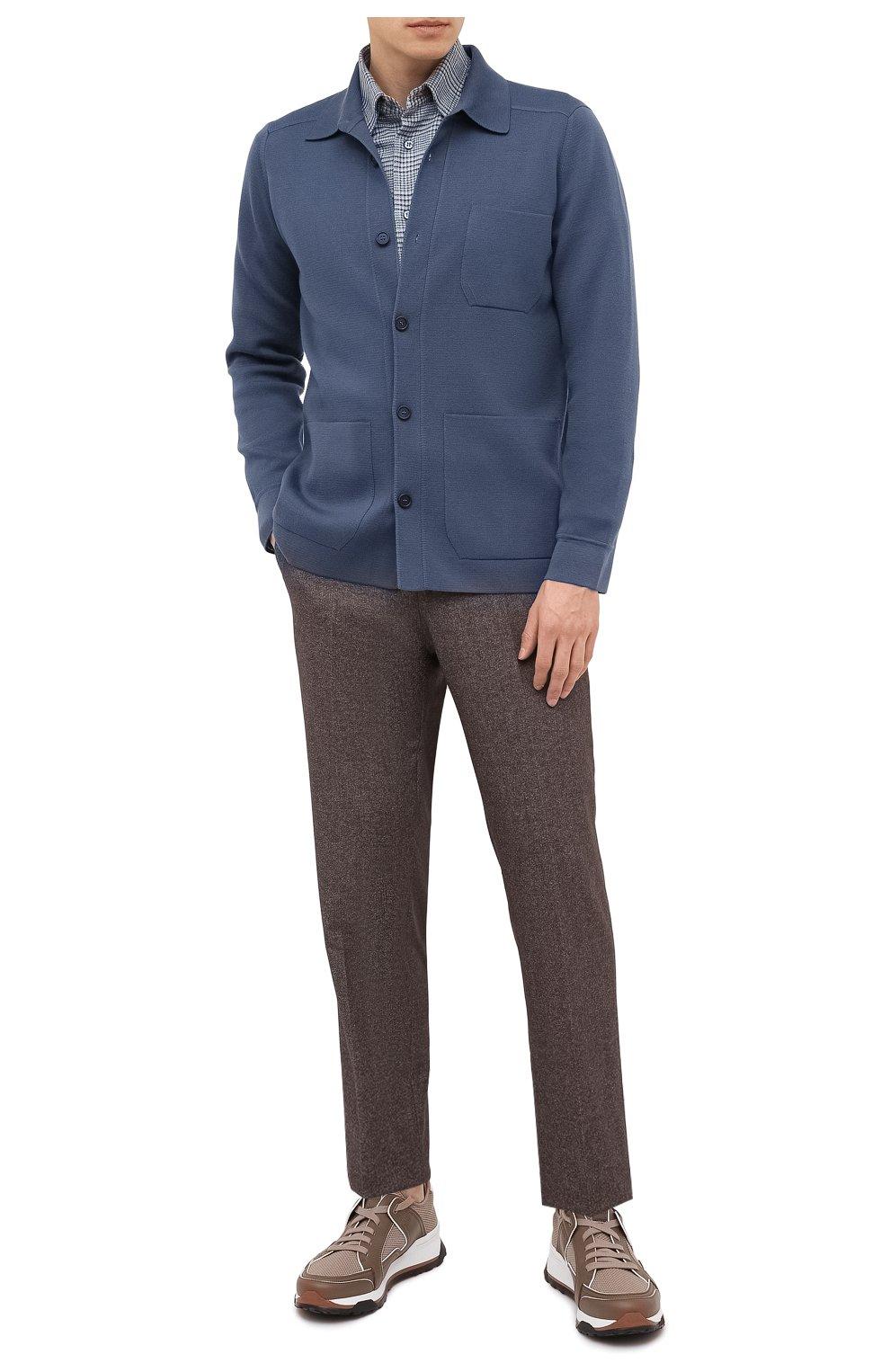 Мужской кардиган из кашемира и шерсти BRIONI синего цвета, арт. UMHH0L/09K08   Фото 2