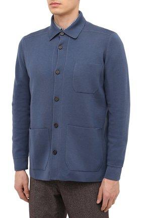 Мужской кардиган из кашемира и шерсти BRIONI синего цвета, арт. UMHH0L/09K08   Фото 3
