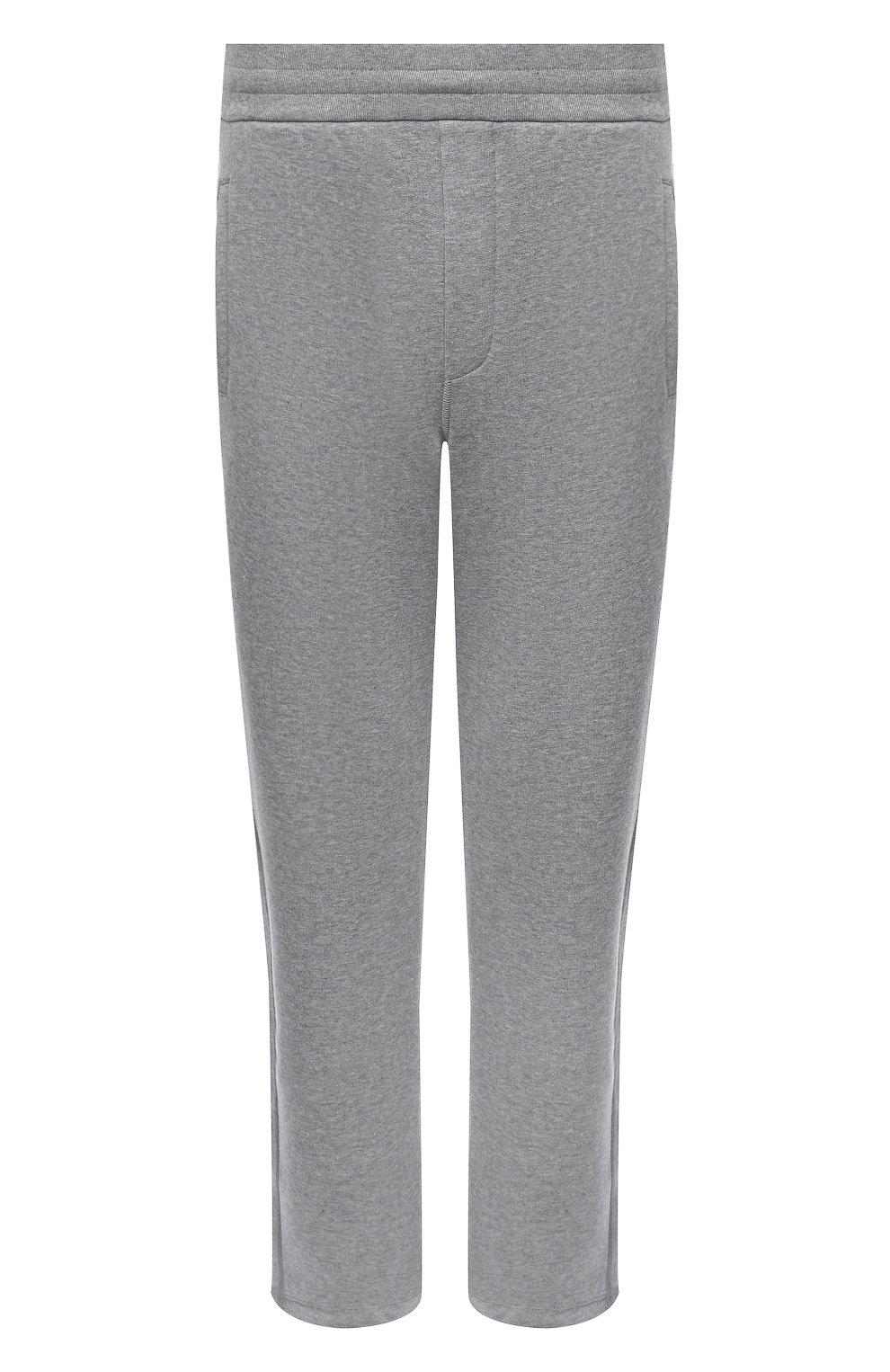 Мужские хлопковые брюки BRIONI серого цвета, арт. UJDJ0L/09630   Фото 1 (Мужское Кросс-КТ: Брюки-трикотаж; Длина (брюки, джинсы): Стандартные; Случай: Повседневный; Материал внешний: Хлопок; Стили: Спорт-шик)