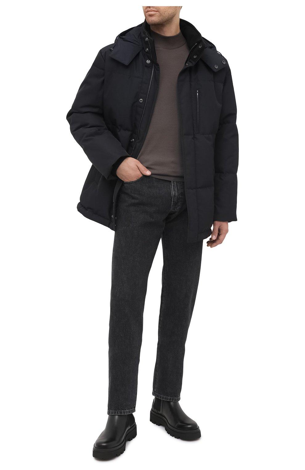 Мужская пуховик BRIONI темно-синего цвета, арт. SUNL0L/03811 | Фото 2 (Кросс-КТ: Куртка, Пуховик; Мужское Кросс-КТ: пуховик-короткий, Пуховик-верхняя одежда, Верхняя одежда; Рукава: Длинные; Длина (верхняя одежда): До середины бедра; Материал внешний: Синтетический материал; Материал подклада: Синтетический материал; Материал утеплителя: Пух и перо; Стили: Кэжуэл)