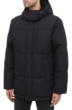 Мужская пуховик BRIONI темно-синего цвета, арт. SUNL0L/03811 | Фото 3 (Кросс-КТ: Куртка, Пуховик; Мужское Кросс-КТ: пуховик-короткий, Пуховик-верхняя одежда, Верхняя одежда; Рукава: Длинные; Длина (верхняя одежда): До середины бедра; Материал внешний: Синтетический материал; Материал подклада: Синтетический материал; Материал утеплителя: Пух и перо; Стили: Кэжуэл)
