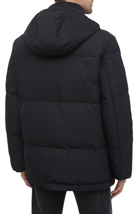 Мужская пуховик BRIONI темно-синего цвета, арт. SUNL0L/03811 | Фото 4 (Кросс-КТ: Куртка, Пуховик; Мужское Кросс-КТ: пуховик-короткий, Пуховик-верхняя одежда, Верхняя одежда; Рукава: Длинные; Длина (верхняя одежда): До середины бедра; Материал внешний: Синтетический материал; Материал подклада: Синтетический материал; Материал утеплителя: Пух и перо; Стили: Кэжуэл)