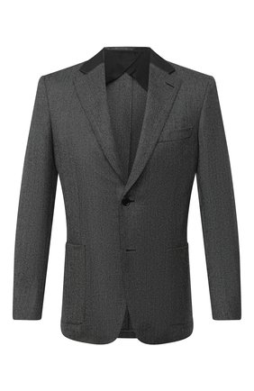 Мужской шерстяной пиджак BRIONI темно-серого цвета, арт. RGI40L/09A4L/TALETE | Фото 1 (Рукава: Длинные; Материал внешний: Шерсть; Длина (для топов): Стандартные; Материал подклада: Купро; 1-2-бортные: Однобортные; Пиджаки М: Приталенный; Стили: Классический; Случай: Коктейльный)