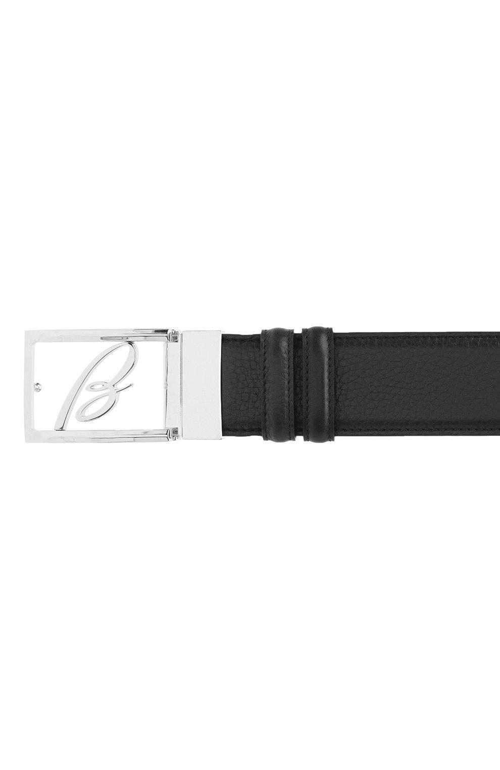 Мужской кожаный ремень BRIONI черного цвета, арт. 0BAS0L/09719   Фото 3