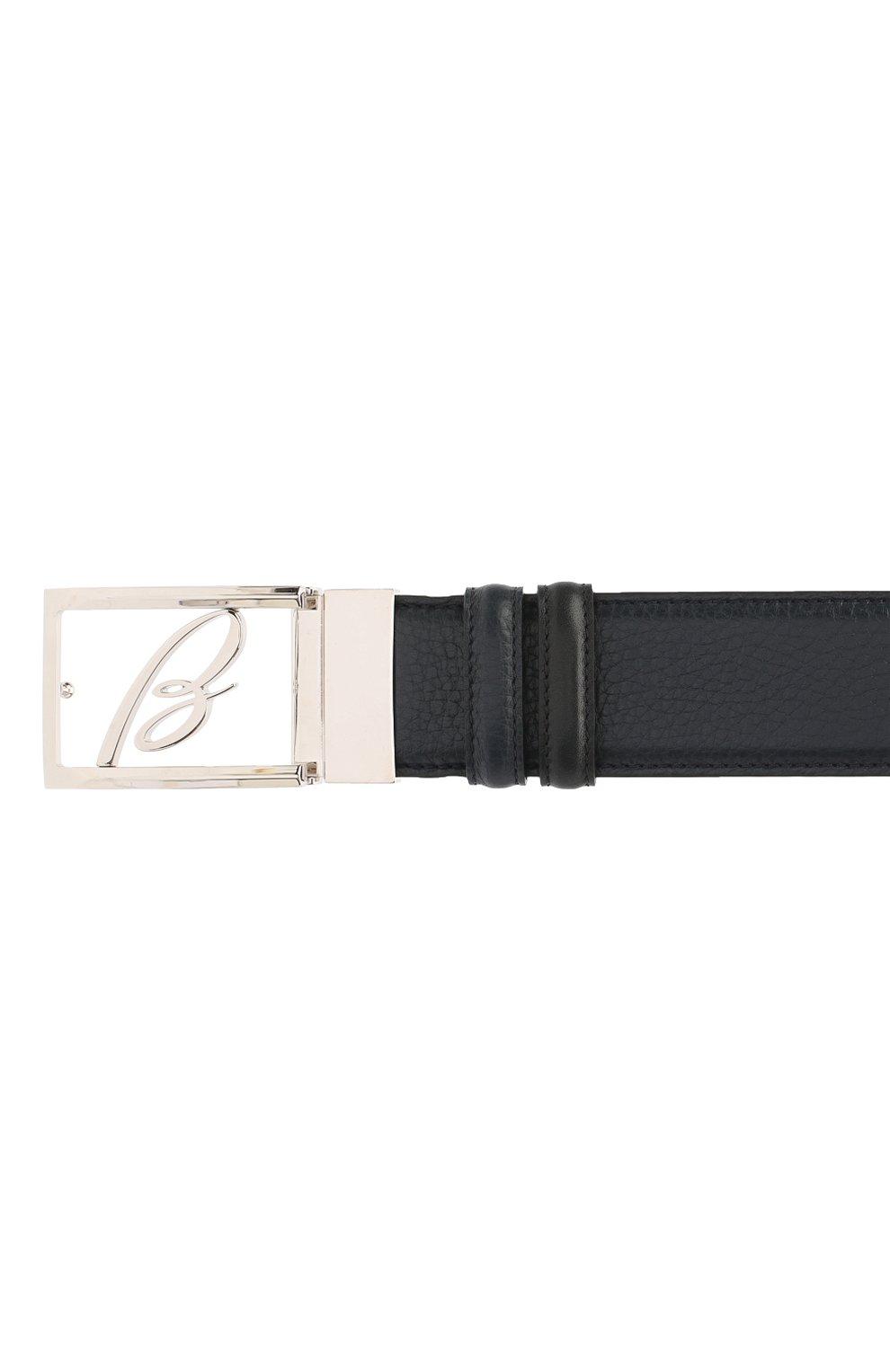Мужской кожаный ремень BRIONI темно-синего цвета, арт. 0BAS0L/09719 | Фото 3
