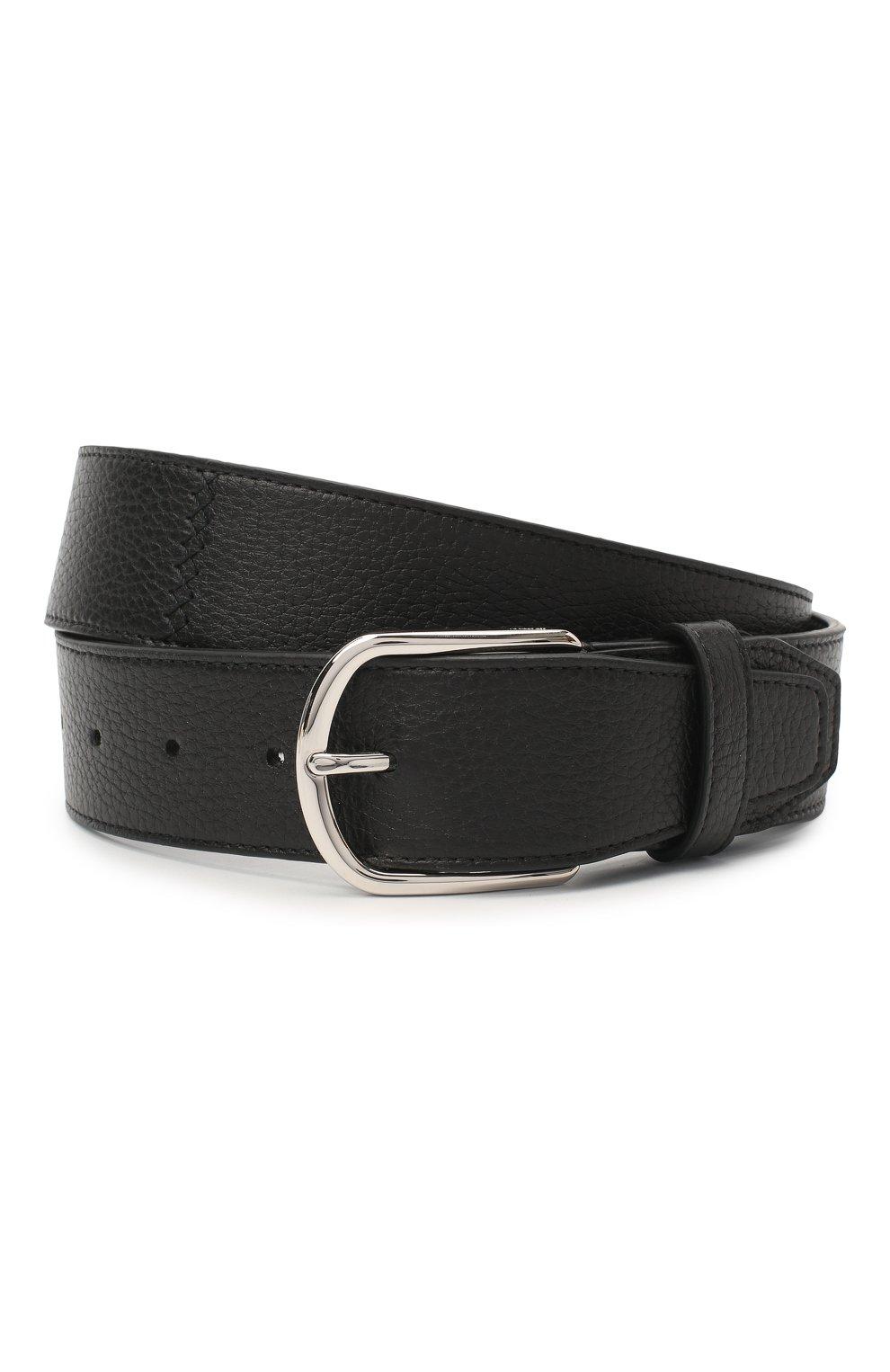 Мужской кожаный ремень BRIONI черного цвета, арт. 0BAT0L/09719 | Фото 1