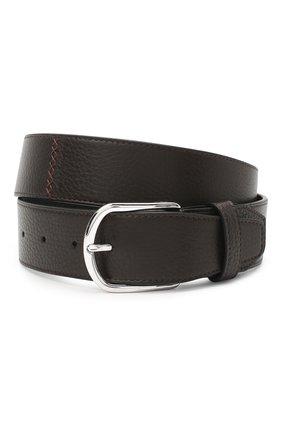 Мужской кожаный ремень BRIONI темно-коричневого цвета, арт. 0BAT0L/09719 | Фото 1