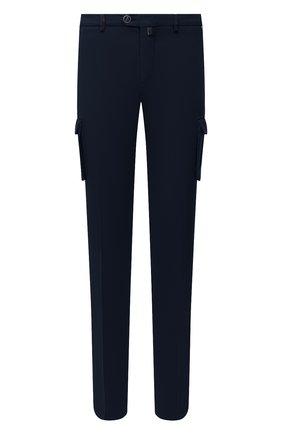 Мужской брюки-карго из хлопка и кашемира KITON темно-синего цвета, арт. UFPPCAJ02T42 | Фото 1