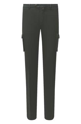 Мужские брюки-карго из хлопка и кашемира KITON темно-зеленого цвета, арт. UFPPCAJ02T42 | Фото 1 (Материал внешний: Хлопок; Длина (брюки, джинсы): Стандартные; Силуэт М (брюки): Карго; Случай: Повседневный; Стили: Кэжуэл)