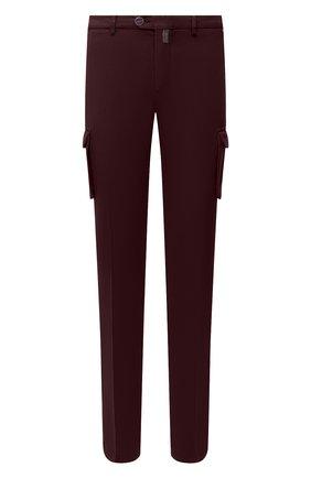 Мужской брюки-карго из хлопка и кашемира KITON бордового цвета, арт. UFPPCAJ02T42 | Фото 1