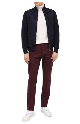 Мужской брюки-карго из хлопка и кашемира KITON бордового цвета, арт. UFPPCAJ02T42 | Фото 2
