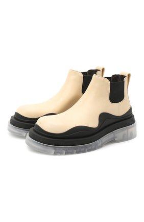 Женские кожаные ботинки bv tire BOTTEGA VENETA светло-бежевого цвета, арт. 630300/VBS50 | Фото 1