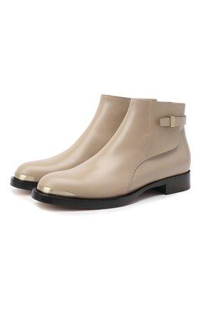 Женские кожаные ботинки GIORGIO ARMANI бежевого цвета, арт. X1M359/XC976 | Фото 1