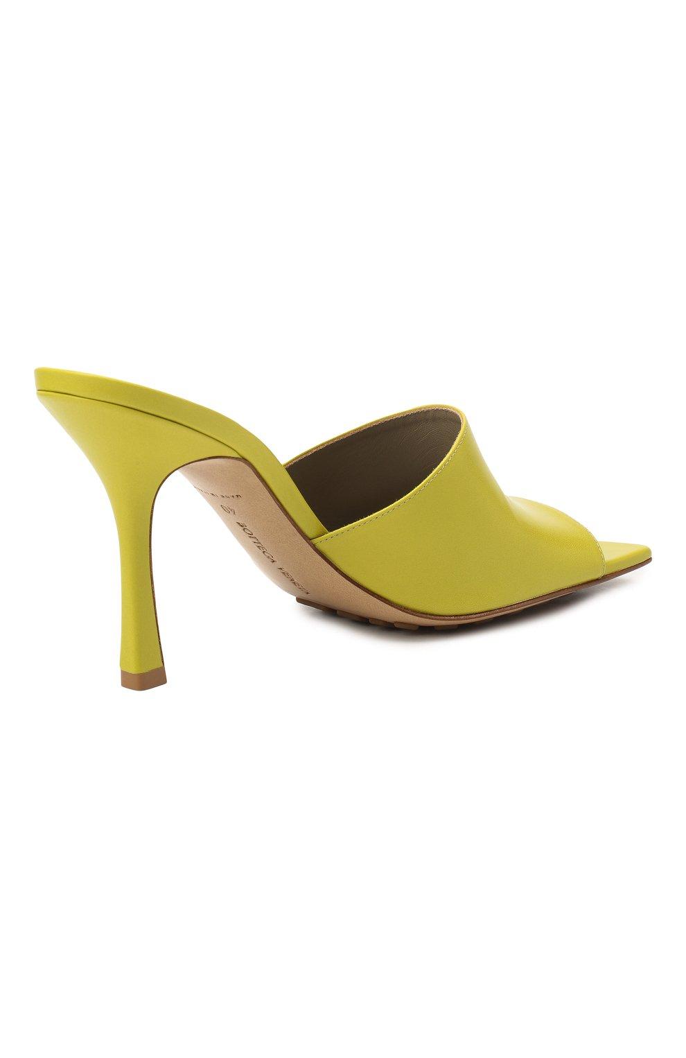 Женские кожаные мюли BOTTEGA VENETA светло-зеленого цвета, арт. 610538/VBSF0 | Фото 4