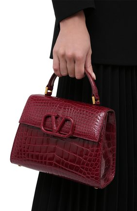 Женская сумка valentino garavani vsling из кожи аллигатора VALENTINO бордового цвета, арт. UW2B0F53/XDE/AMIS | Фото 2