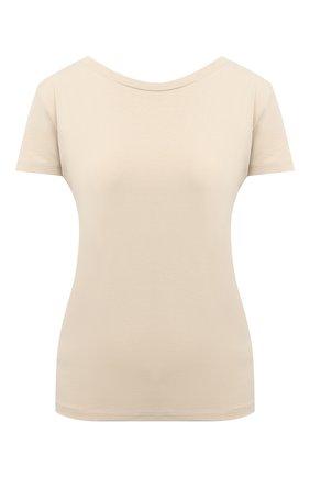 Женская хлопковая футболка JACQUEMUS кремвого цвета, арт. 203JS05/216800 | Фото 1