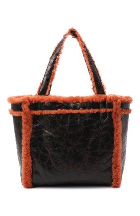 Женский сумка-шопер DRIES VAN NOTEN коричневого цвета, арт. 202-11524-309 | Фото 1