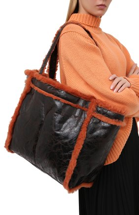 Женский сумка-шопер DRIES VAN NOTEN коричневого цвета, арт. 202-11524-309 | Фото 2
