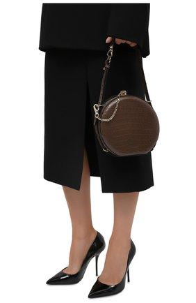 Женская сумка canteen из кожи аллигатора RALPH LAUREN коричневого цвета, арт. 435790384AMIS   Фото 2