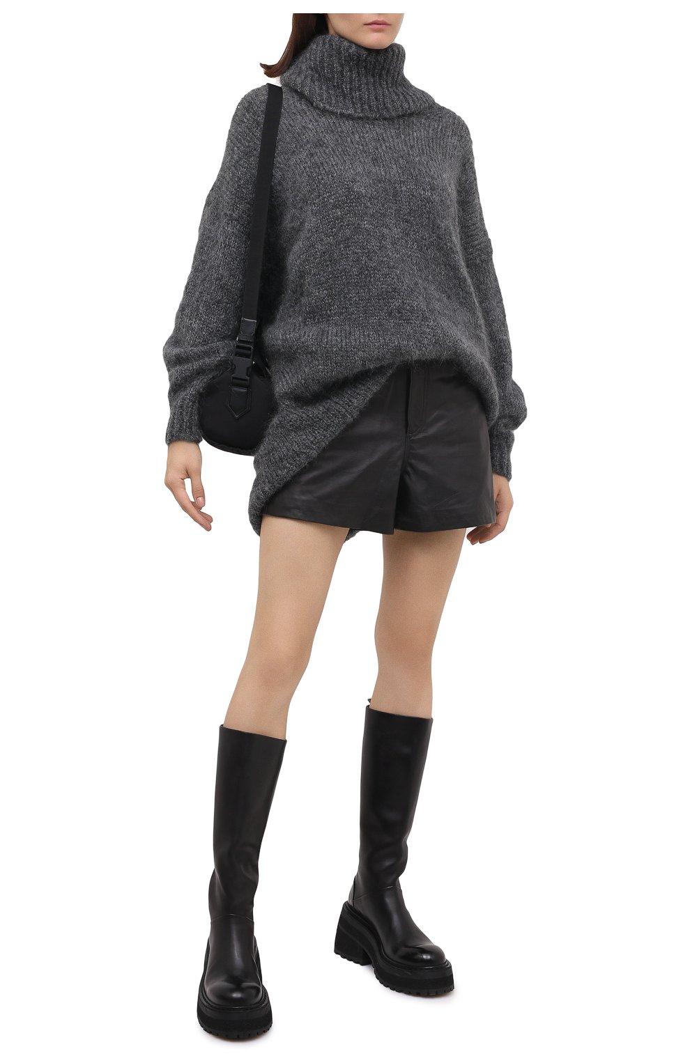 Женские кожаные шорты RAG&BONE черного цвета, арт. WCW20F9000LE00 | Фото 2 (Женское Кросс-КТ: Шорты-одежда; Стили: Гламурный; Длина Ж (юбки, платья, шорты): Мини; Материал подклада: Синтетический материал)