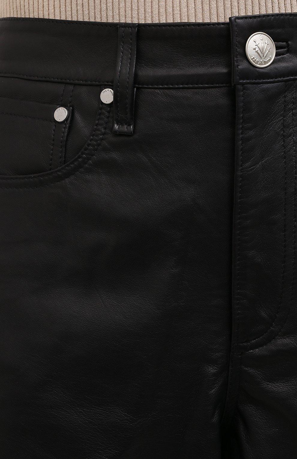Женские кожаные шорты RAG&BONE черного цвета, арт. WCW20F9000LE00 | Фото 5 (Женское Кросс-КТ: Шорты-одежда; Стили: Гламурный; Длина Ж (юбки, платья, шорты): Мини; Материал подклада: Синтетический материал)