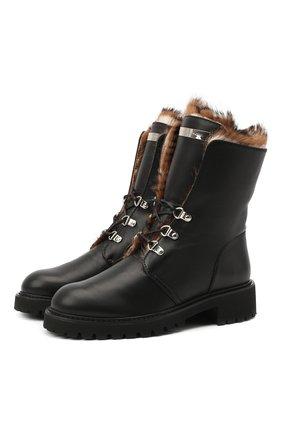 Женские кожаные ботинки GIUSEPPE ZANOTTI DESIGN черного цвета, арт. I070009/004 | Фото 1