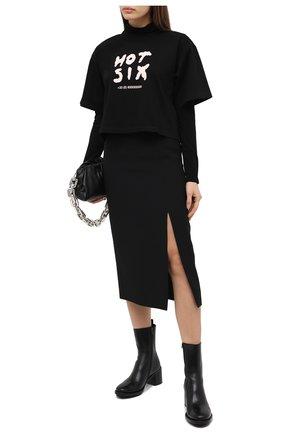 Женская хлопковая футболка MM6 черного цвета, арт. S32GC0581/S23082 | Фото 2