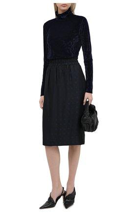 Женская юбка из вискозы и шелка DRIES VAN NOTEN темно-синего цвета, арт. 202-10880-1331 | Фото 2