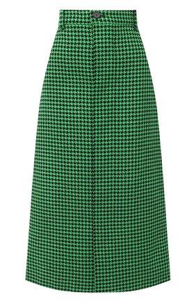 Женская шерстяная юбка BALENCIAGA зеленого цвета, арт. 626564/TIU12 | Фото 1