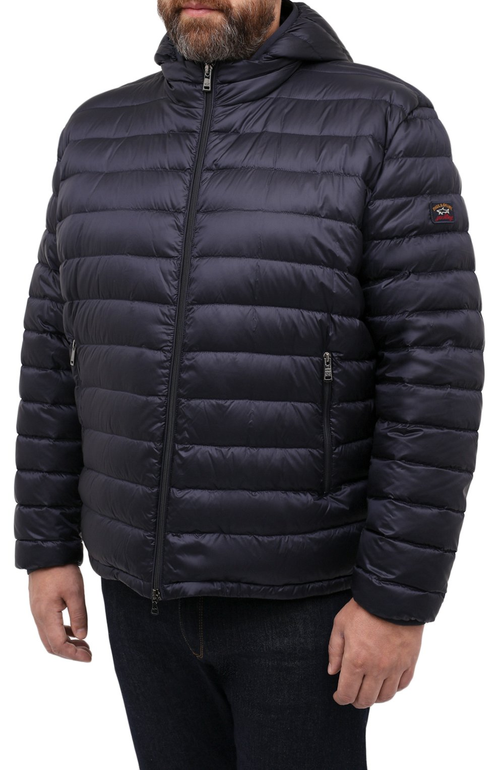 Мужская пуховая куртка PAUL&SHARK синего цвета, арт. C0P2008/GTX/3XL-6XL | Фото 3 (Кросс-КТ: Куртка, Пуховик; Мужское Кросс-КТ: пуховик-короткий, Пуховик-верхняя одежда, Верхняя одежда; Рукава: Длинные; Материал внешний: Синтетический материал; Материал подклада: Синтетический материал; Длина (верхняя одежда): Короткие; Материал утеплителя: Пух и перо; Стили: Кэжуэл)