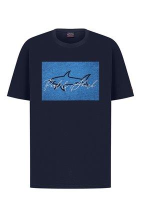 Мужская хлопковая футболка PAUL&SHARK темно-синего цвета, арт. A20P1694/C00/3XL-6XL | Фото 1