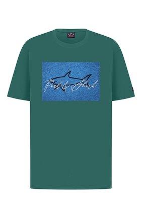 Мужская хлопковая футболка PAUL&SHARK зеленого цвета, арт. A20P1694/C00/3XL-6XL | Фото 1