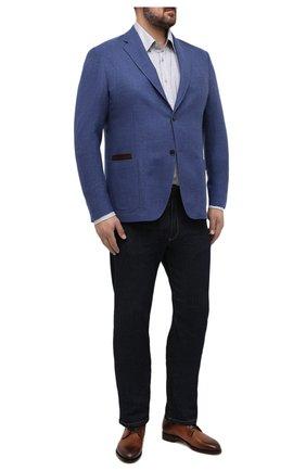 Мужская хлопковая рубашка PAUL&SHARK серого цвета, арт. I20P3064/C00/48-50   Фото 2