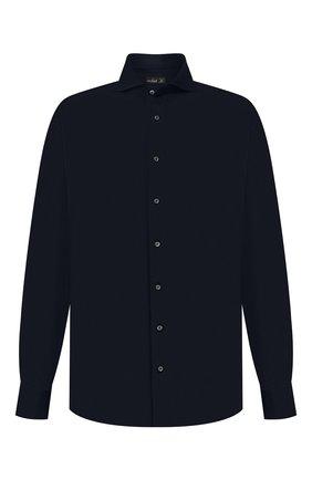 Мужская хлопковая рубашка VAN LAACK темно-синего цвета, арт. M-PER-L/180031/3XL | Фото 1 (Длина (для топов): Стандартные; Материал внешний: Хлопок; Рукава: Длинные; Стили: Кэжуэл; Случай: Повседневный; Рубашки М: Regular Fit)
